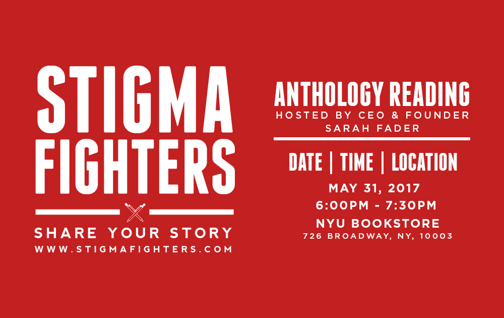Michelle will be reading an essay at the Stigma Fighters event at NYU! 18
