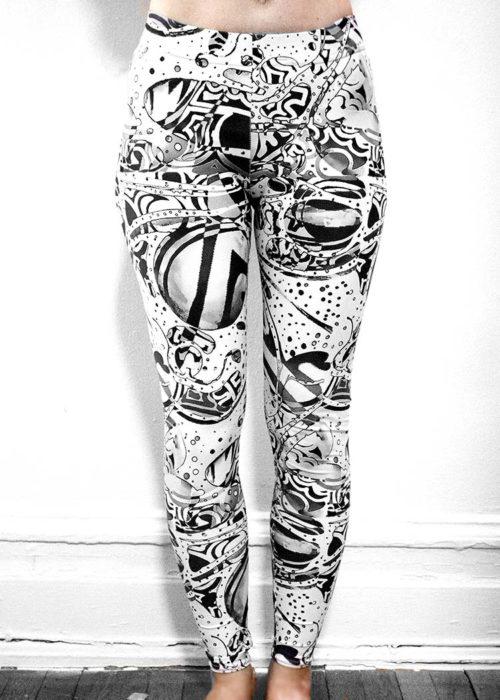 """Artwork on Leggings, Michelle's """"Bleach"""" Black & White Print Leggings, Schizophrenic.NYC Mental Health Clothing Brand, Schizophrenic.NYC Mental Health Clothing Brand"""