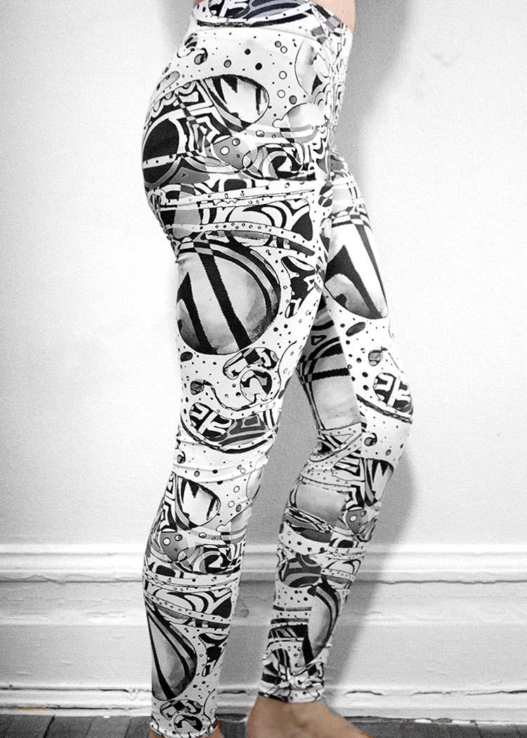 "Michelle's ""Bleach"" Black & White Print Leggings 2"