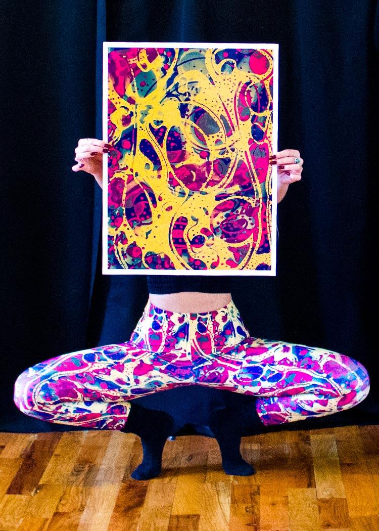 Artwork on Leggings, Schizophrenic.NYC ILLusion Leggings Now Available, Schizophrenic.NYC Mental Health Clothing Brand, Schizophrenic.NYC Mental Health Clothing Brand