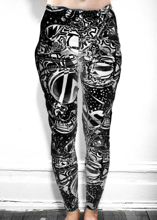"Michelle's ""Bleach"" Black & White Dark Print Leggings 4"