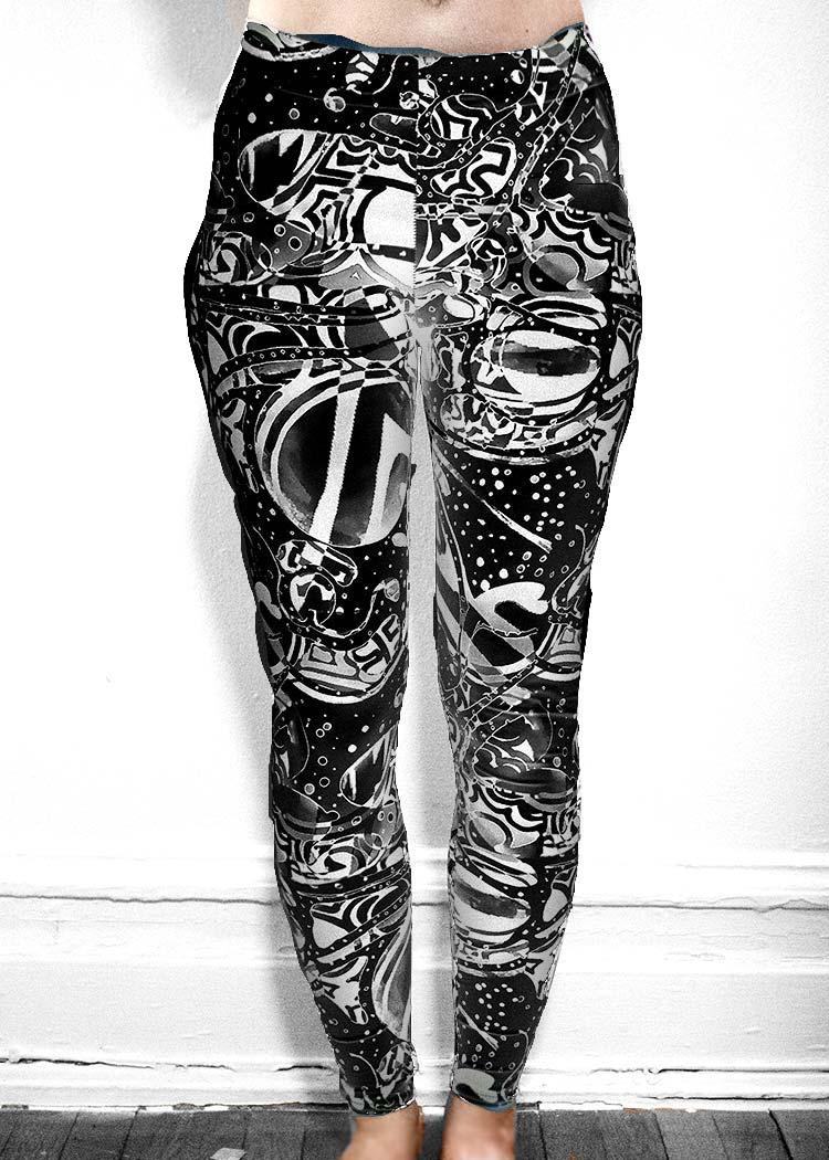"""Michelle's """"Bleach"""" Black & White Dark Print Leggings 1"""