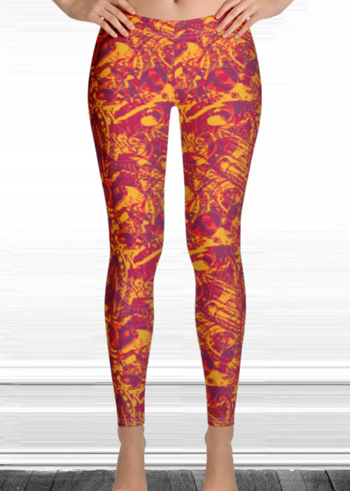 "Michelle's ""Falling"" Print Leggings 32"