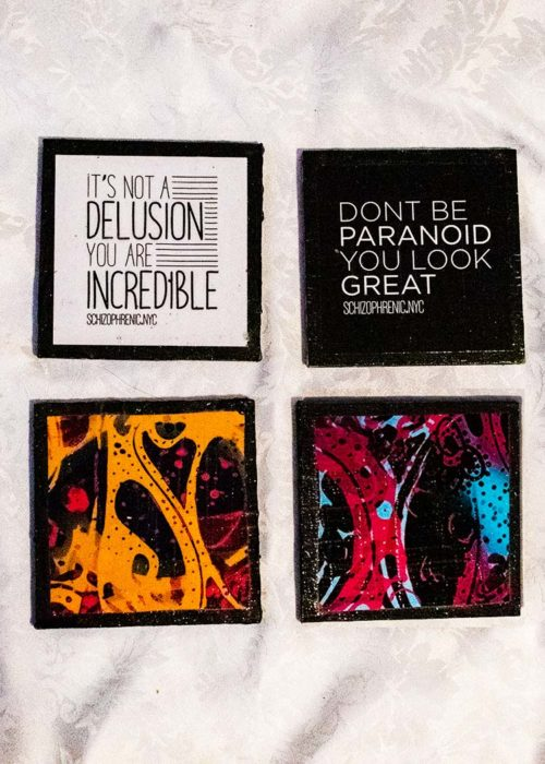 Coasters, Coaster Set #6, Schizophrenic.NYC Mental Health Clothing Brand, Schizophrenic.NYC Mental Health Clothing Brand