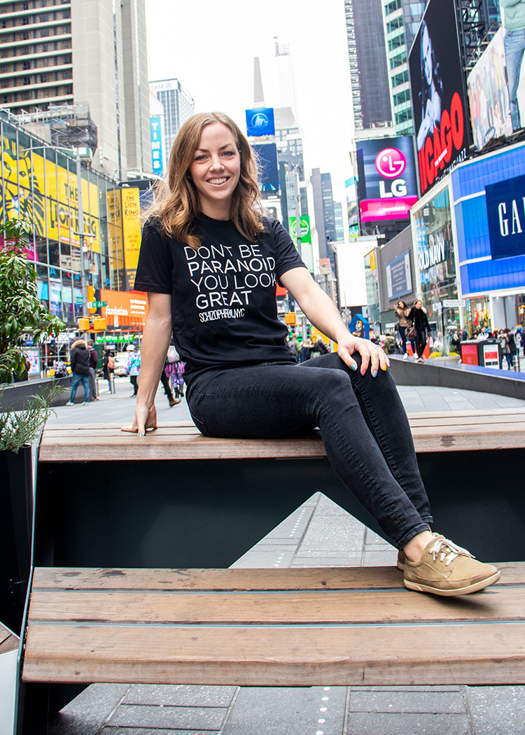 Don't Be Paranoid. You Look Great T-Shirt By Schizophrenic.NYC. worn by Lauren of Living Well With Schizophrenia