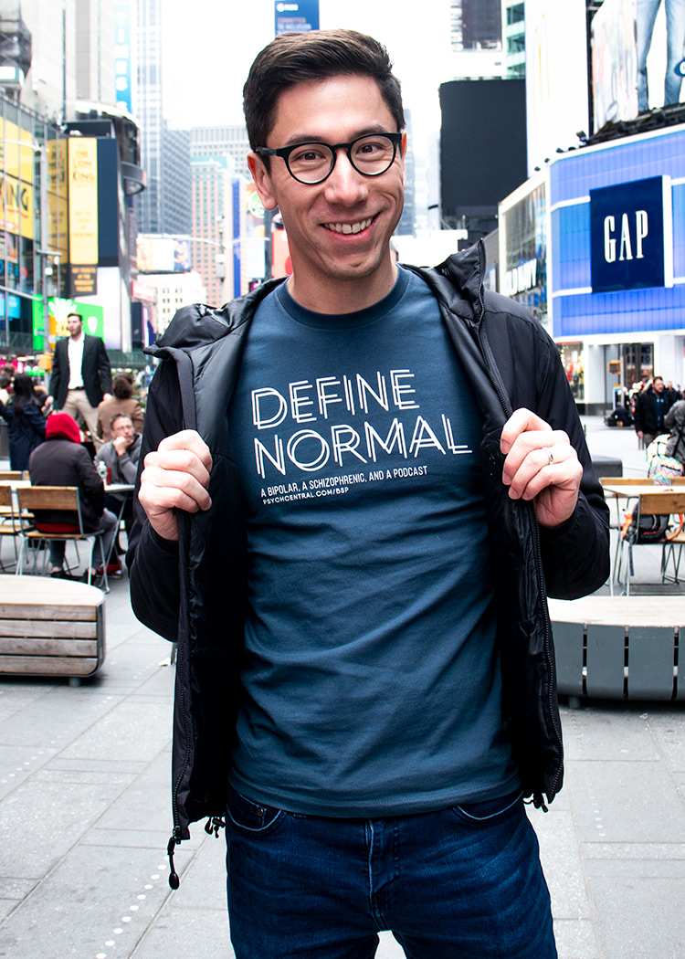 Define Normal T-Shirt By Schizophrenic.NYC. worn by Rob of Living Well With Schizophrenia