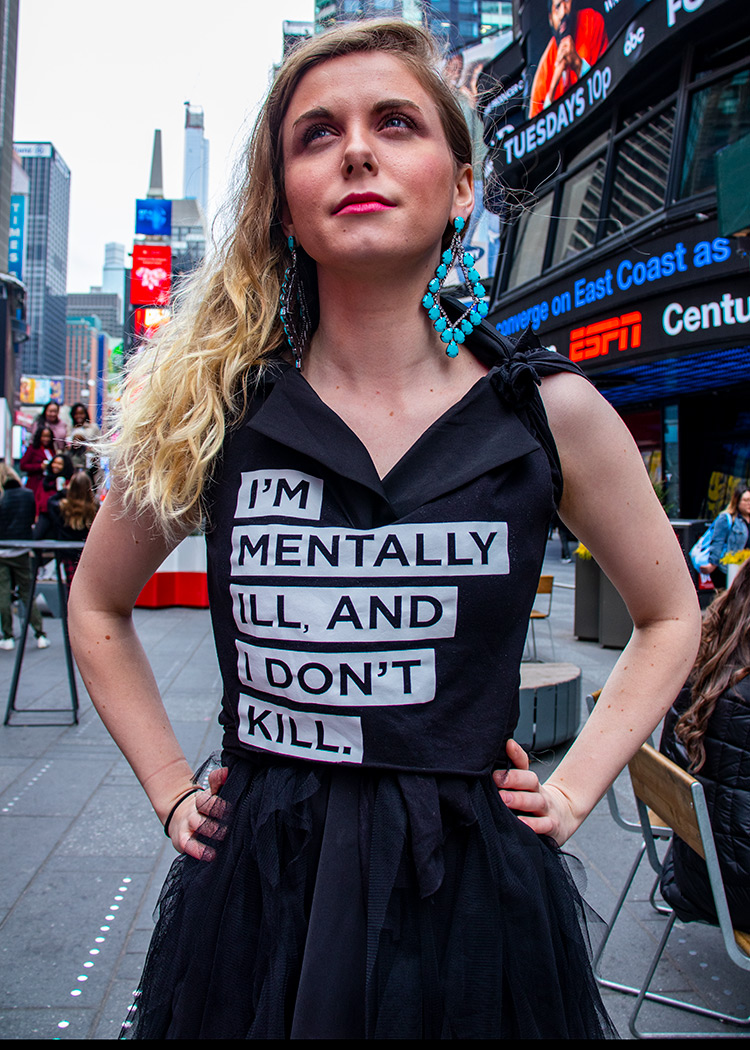 I'm Mentally Ill And I Don't Kill T-Shirt by Schizophrenic.NYC. Worn by Cecilia McGough of Students With Psychosis.